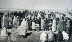 "The Ghost Dance spread across North America as the people reached for vision and connection with the Ancestors in the midst of trauma, occupation, and starvation.  This is a photo of Lakota Ghost Dancers  before the Wounded Knee Massacre in 1890. Afraid of its power, the US government sent armies to suppress it. They used Gatling guns to mow down the Indian warriors. Whites' hostility to what they called ""the Messiah Craze"" led directly to the death of Sitting Bull."