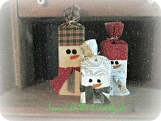Blissful and Domestic- Thrifty Living, Homeschool, and Big Smiles: DIY Snowmen 2x4's