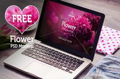 free-macbook-pro-psd-mockup-flower