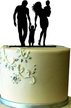 family wedding cake topper with 2 boy and 1 girl, bride and groom ...