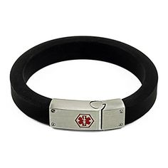 IDtagged Silicone Diabetes Type 2 Medical Alert ID Bracelet w/ Stainless Steel Magnetic Tag * Check this awesome product by going to the link at the image.