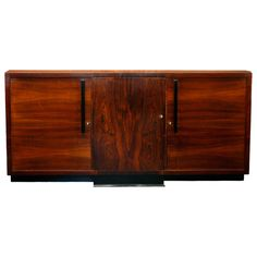 French Modernist Period Buffet  Flamed Cuban mahogany 38hx81Lx19.5d  JMF