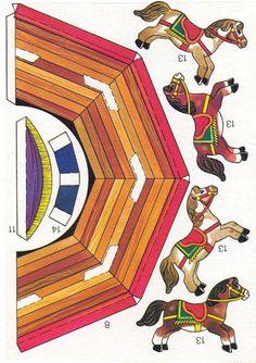 CARRUSEL2 - manualidades - Picasa Web Albums Paper Crafts Origami, 3d Paper, Paper Toys, Imprimibles Toy Story Gratis, Clown Crafts, Paper Games, Festa Party, Paper Houses, Paper Models