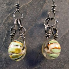 Mint Chocolate Drops - earrings with green and brown lampwork glass. $24.00, via Etsy.