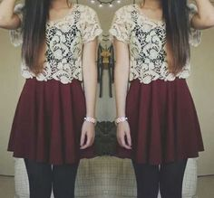 lace top, maroon skirt. I love the colors!