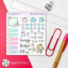 Excited to share this item from my shop: Budget stickers Printable Stickers, Cute Stickers, Printable Planner, Journal Stickers, Planner Stickers, Sticker Paper, Budgeting, How To Draw Hands, Bullet Journal