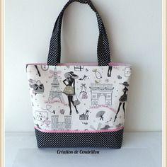 "Bag / tote bag made of cotton ""La Parisienne"" handmade - handmade Handmade Fabric Bags, Handmade Purses, Patchwork Bags, Quilted Bag, Coco Chanel Fashion, Parisian Fashion, Denim Handbags, Diy Tote Bag, Bag Packaging"