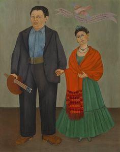 Frida y Diego Rivera (1931) Se puede ver cómo ella misma representa diferente a su marida Diego. Ella es pequeño y lleva un vestido tradicional. Mientras Diego, un hombre, es pintado como un artista. Él tiene cepillos del arte en sus manos. Frida no tiene crédito por su trabajo.