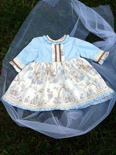 vestido de niña azul y crudo , vestido de bebe angelitos , vestido talle alto bebe , vestido viyela bebe , vestido 24 meses niña invierno by pitufos on Etsy