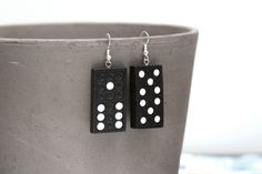 Items similar to Black Domino Dangle Earrings on Etsy Old Wood, Vintage Earrings, Dog Tag Necklace, Dangle Earrings, Dangles, Jewelry Making, Sterling Silver, Stone, Etsy