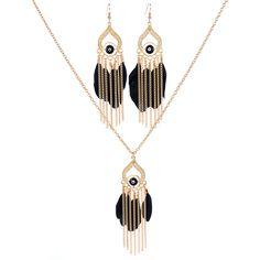 2017 New Fashion Design Jewelry Set Women Feather Tassel Pendant Necklace Earring Gold Chain Choker Maxi Boho Collier Statement