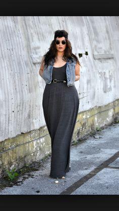 Maxi dress and jean vest