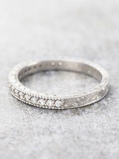 Hand Engraved Diamond Milgrain Band LUNESSA.COM