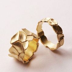 the_eclectic_artisans - Scorched Earth series of rings, made by Israeli jeweller Doron Merav