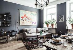 Decoración de sala con tonos grises
