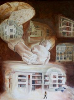 Community bread - oil painting by Ildikó Mecséri #IldikóMecséri #art #oilpainting Bread Oil, Christian Art, Community Art, Oil Painting On Canvas, Bible, Paintings, Contemporary, Biblia, Painting Art