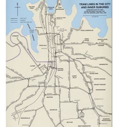 Map of the tram lines,in the City of Sydney and inner suburbs that were in use between 1933 and Metro Rail, Australia Map, Public Transport, Sydney, How To Plan, History, City, Maps, Transportation