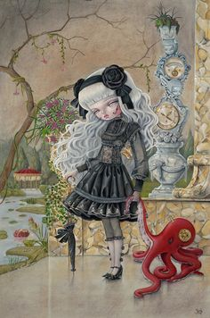 "Kukula  Found this art via ""Luicole Press"" on FaceBook & then a Google search gained me this pin.  Dunno why this print makes me think of one of my nieces -probably the dress.  I kinda like her work.  Artist info & gallery here:  http://www.kukulaland.com/#!about-the-artist/c1b0l"