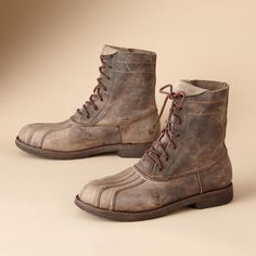 BED STU COLONIAL BOOTS -- Masterfully reinterpreted, this functional duck boot for fashionable forays into the urban jungle. Washed leather looks and feels like a time-tested friend Unique Clothes For Women, Duck Boots, Mens Fashion, Fashion Trends, Leather Boots, Combat Boots, Footwear, Man Shop, My Style