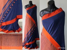 Khadi soft cotton saree with silk border comes with matching blouse