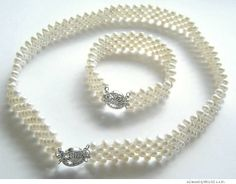 pearl jewlery | Charming White Pearl Necklace and Bracelet Set #S120