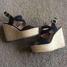 Steve Madden Jenny  Wedges Super cute Steve Madden woven wedges. Very slightly worn, but look brand new when they are on. Perfect for summer. Comes from smoke-free home. Steve Madden Shoes Wedges
