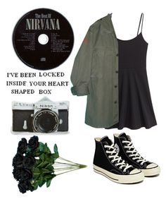 """""""nirvana"""" by maddiebauer19 ❤ liked on Polyvore featuring H&M, Converse and Nikon"""