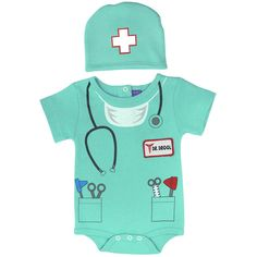 """A perfect 2 piece set for baby to lounge around in. This set includes a premium 100% cotton bodysuit in a doctor theme. Matching cap included.<br><br>The Sozo Neutral Light Green Doctor Bodysuit with Faux Statoscope, Medical Instruments, """"Dr. Drool"""" Patch and First Aid Hat Features:<br><ul><li>100% cotton</li><br><li>Matching cap included</li><br><li>Great baby shower gift</li><br><li>..."""