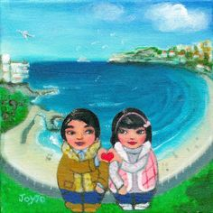 Mei+Kenji are painted at Bondi Beach in Sydney Australia on a bright wintry day. Bondi Beach is an all year round popular beach and has become an iconic visitor Bondi Beach, Sydney Australia, Romantic, Culture, Adventure, Art Prints, Painting, Design, Art Impressions