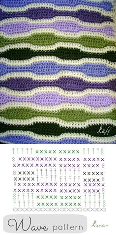 Crochet Wave Stitch - Chart ❥ 4U // hf