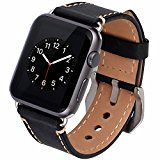 MKEKE Black Apple Watch Band, iWatch Band Strap Premium Vintage Genuine Leather Replacement Watchband with Secure Metal Clasp Buckle for Apple Watch Sport Edition(Dark Black Men's Accessories, Sport Watches, Watches For Men, Gps Watches, Rolex Watches, Bracelet Apple Watch, Leather Anniversary Gift, Wedding Anniversary, Bracelets
