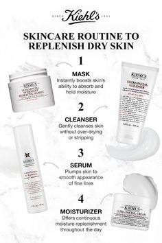 Combat dry skin with this mega moisturizing skincare routine. step times per week, add ultra facial overnight hydrating mask to your nighttime Skin Care Regimen, Skin Care Tips, Dry Skin Causes, Serum, Hydrating Mask, Facial Cream, Facial Cleanser, Best Face Products, Oily Skin