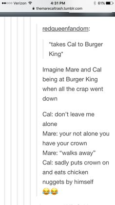 Red Queen-Glass Sword-King's Cage-Mare Barrow-Tiberias Calore-Cal-Burger King | Im crying and laughing all at the same time