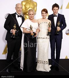 J.K. Simmons, Patricia Arquette, Julianne Moore and Eddie Redmayne at the 87th Annual Academy Awards - Press Room held at the Loews Hollywood Hotel in Hollywood on February 22, 2015. © dpa picture alliance / Alamy
