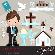My first Communion Clipart for Boys. Cute Communion characters, graphics, bible, church, rosary, communion banner. First Communion Graphics. by MUJKA on Etsy