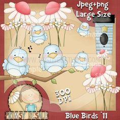 Blue Birds 1 - Clip Art by Primsy Doodle