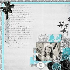 scrapbook layout. Love the flower cluster and color combo
