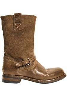 ALBERTO FASCIANI - 30MM WASHED HORSE AND SUEDE BIKER BOOTS