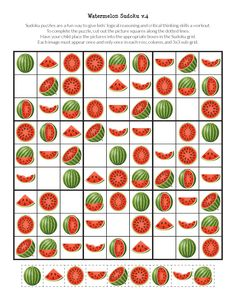 Free printable Watermelon Sudoku puzzles for children. Great summertime fun that also stimulates critical thinking and cognitive skills. Farm Animals Preschool, Preschool Activities At Home, Preschool Printables, Preschool Math, Preschool Worksheets, Free Printables, Free Puzzles For Kids, Printable Puzzles For Kids, Sudoku Puzzles