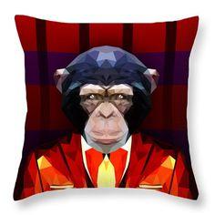 Chimpanzee Throw Pillow by Filip Aleksandrov Animal Print Pillows Stylish Pillows Classy Pillows