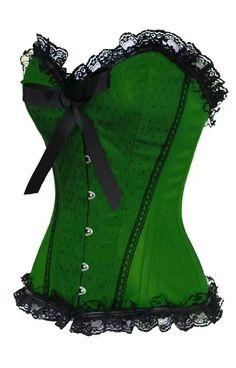 The Violet Vixen//Pinup Doll Green Corset Steampunk Corset, Steampunk Fashion, Gothic Fashion, Gothic Corset, Burlesque Corset, Sexy Corset, Overbust Corset, Burlesque Costumes, Green Corset
