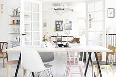 Fresh white home with pastel accent colors