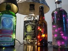 Glass Liquor Bottle Table Lamps- great for home bar or man cave- for zack with cool beer bottles?