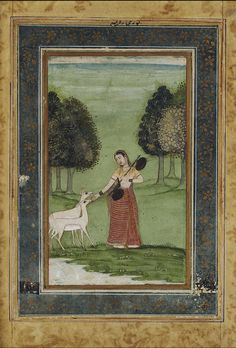 Todi Ragini: a maiden holding a vina feeding gazelles in a glade Provincial Mughal, circa 1760 gouache on paper, mounted on an album page with gilt-decorated borders, nasta'liq inscription at top, framed, 169 X 97 mm.; maidens visiting a lingam shrine at the side of a lake, provincial Mughal, Jaipur, circa 1760, gouache on paper, mounted on an album page with gilt-decorated borders, framed