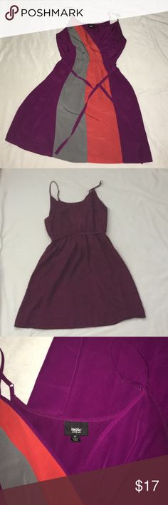 """Like-New Jewel Tone Strappy Mini Dress Just in time for transition to fall! Beautiful purple, orange, and gray tones work perfectly together in this adjustable spaghetti strap mini dress. Has matching tie to shape waist. Could swap out for a mini belt. Wrapped V neck. Comes about mid-thigh on 5'7"""". Last picture is truest to colors. Mossimo Supply Co Dresses Mini"""