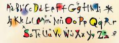 Alfabeto vectorial estilo Joan Miró