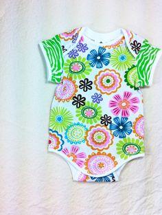 Children Clothing, Boutique Clothing Kids, Size 3 Month Flower Print Bodysuit, Ready to Ship, Children Summer Clothing. $24.00, via Etsy.
