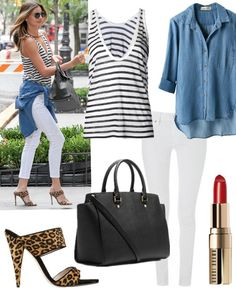 Summer outfit ideas 2014, models off duty, celebrities airport style.   Top: T by Alexander Wang Stripe Knit Tank (Miranda Kerr worn hers backwards!)  Shirt: Bella Dahl Button Down Shirt (the longer back design is much needed when wearing skinny white jeans! similar style here)  Lip: Bobbi Brown Lip Color  Jeans: DL1961 Angel Ankle Jeans ($88 here)  Bag: MICHAEL Michael Kors 'Large Selma' Zip-Top Satchel  Shoe: Miu Miu Leopard-Print Mules