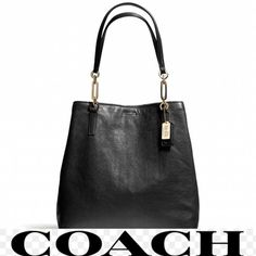 Coach North South  Calf Leather Shoulder Bag Coach North South Leather Tote. Bag is in Pristine Condition. Like New. I wore this bag 2-3 times. It is a beautiful bag. There are no flaws or markings  The bag has a magnetic closure. Blue lining with zip, slip, cell phone and multi functional pockets. Gold tone hardware. Dust bag included. Please feel free to ask me any questions and God Bless You Coach Bags Shoulder Bags