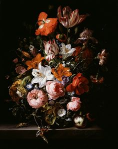 Flowers in a Glass Vase, Oil on Canvas, 1704 by Rachel Ruysch (Dutch, 1664-1750), one of the great female artists represented in the DIA's collection. Photo copyright, 2013, Detroit Institute of Arts. An amazing painting, full of detail.